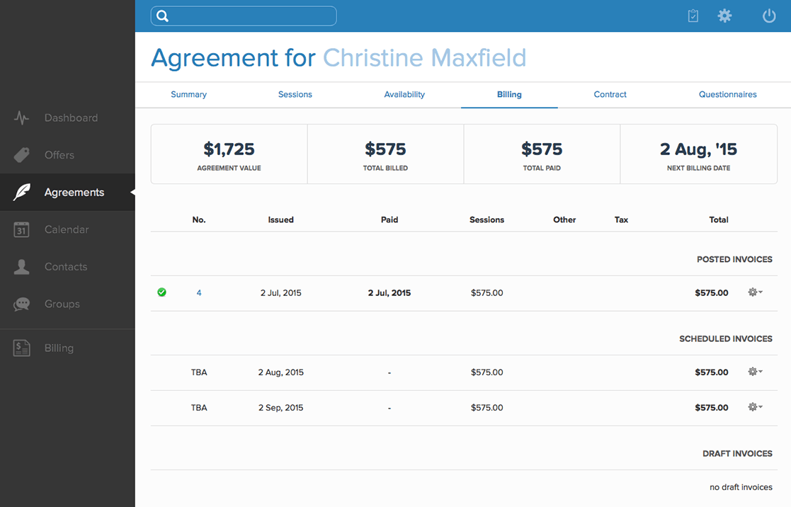 Agreement billing history screenshot